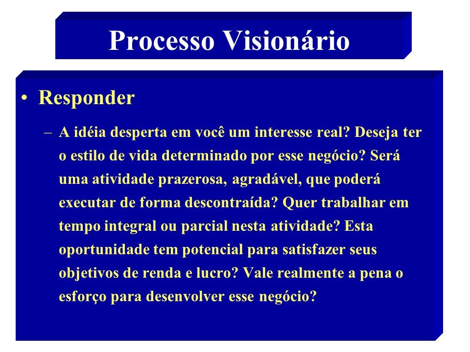 48 Processo Visionário Responder –A idéia desperta em você um interesse real? Deseja ter o estilo de vida determinado por esse negócio? Será uma ativi