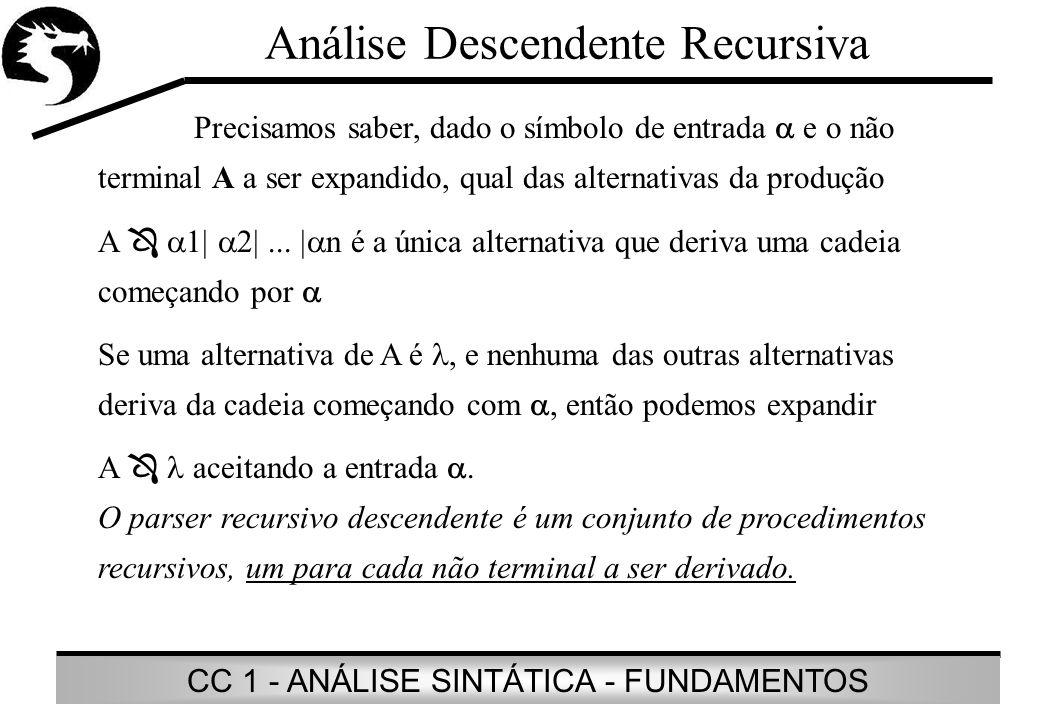 CC 1 - ANÁLISE SINTÁTICA - FUNDAMENTOS Análise Descendente Recursiva Precisamos saber, dado o símbolo de entrada e o não terminal A a ser expandido, q