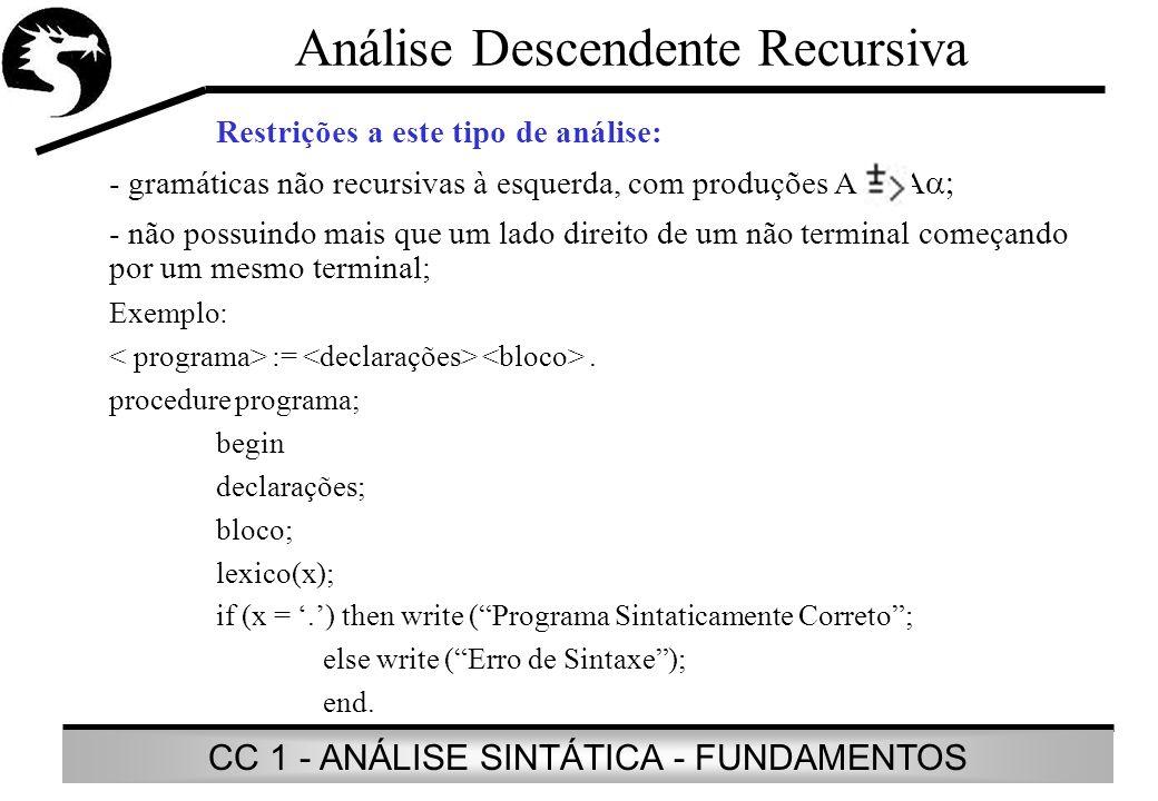 CC 1 - ANÁLISE SINTÁTICA - FUNDAMENTOS Análise Descendente Recursiva Restrições a este tipo de análise: - gramáticas não recursivas à esquerda, com pr
