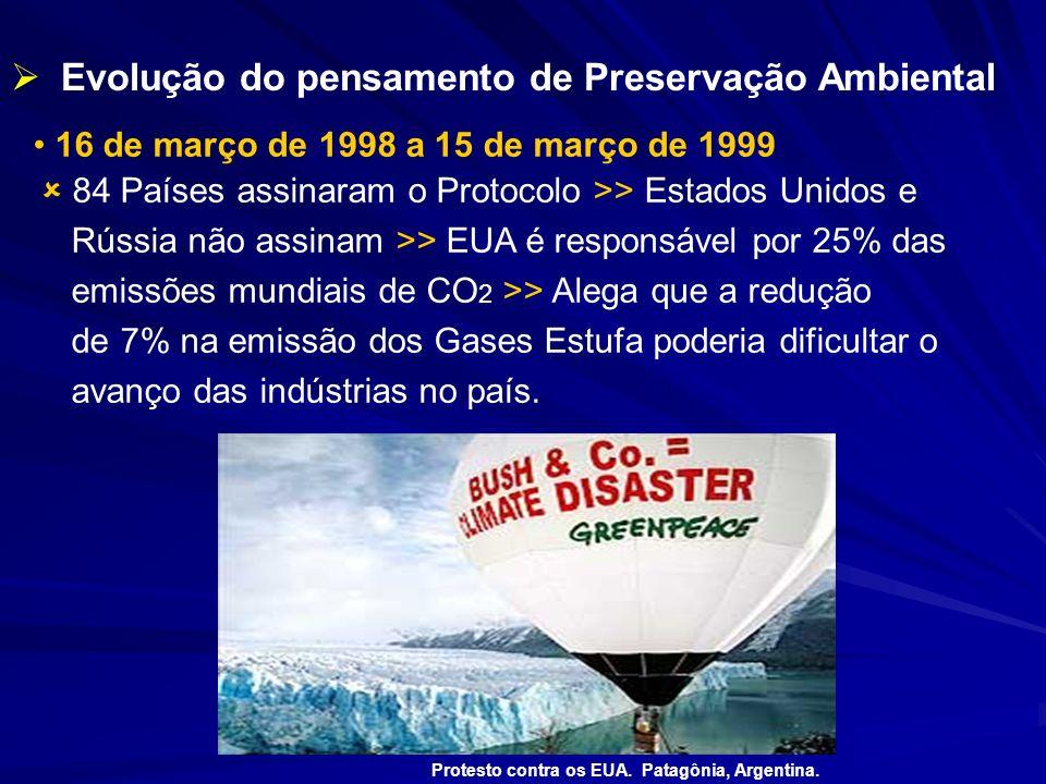 16 de março de 1998 a 15 de março de 1999 84 Países assinaram o Protocolo >> Estados Unidos e Rússia não assinam >> EUA é responsável por 25% das emis
