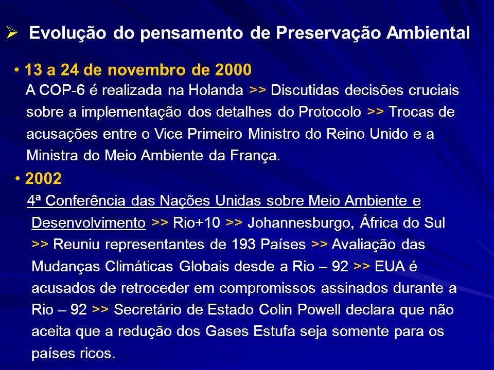 13 a 24 de novembro de 2000 A COP-6 é realizada na Holanda >> Discutidas decisões cruciais sobre a implementação dos detalhes do Protocolo >> Trocas d