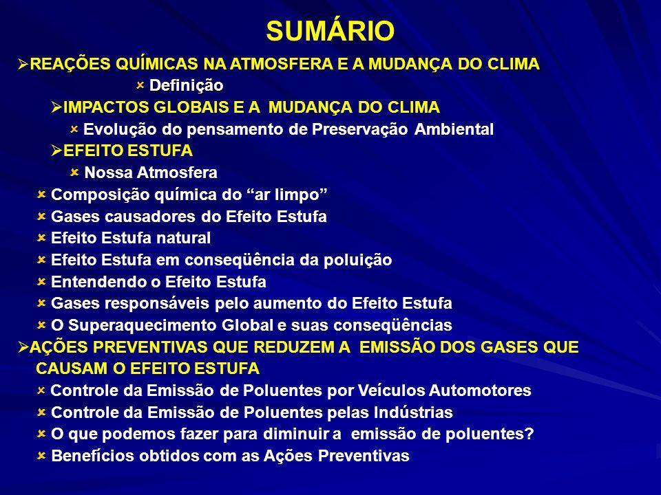 SUMÁRIO REAÇÕES QUÍMICAS NA ATMOSFERA E A MUDANÇA DO CLIMA REAÇÕES QUÍMICAS NA ATMOSFERA E A MUDANÇA DO CLIMA Definição Definição IMPACTOS GLOBAIS E A