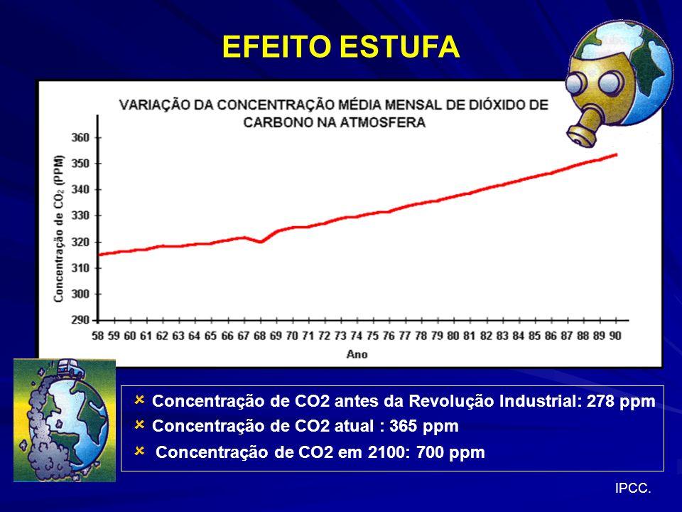 Concentração de CO2 antes da Revolução Industrial: 278 ppm Concentração de CO2 atual : 365 ppm Concentração de CO2 em 2100: 700 ppm IPCC.