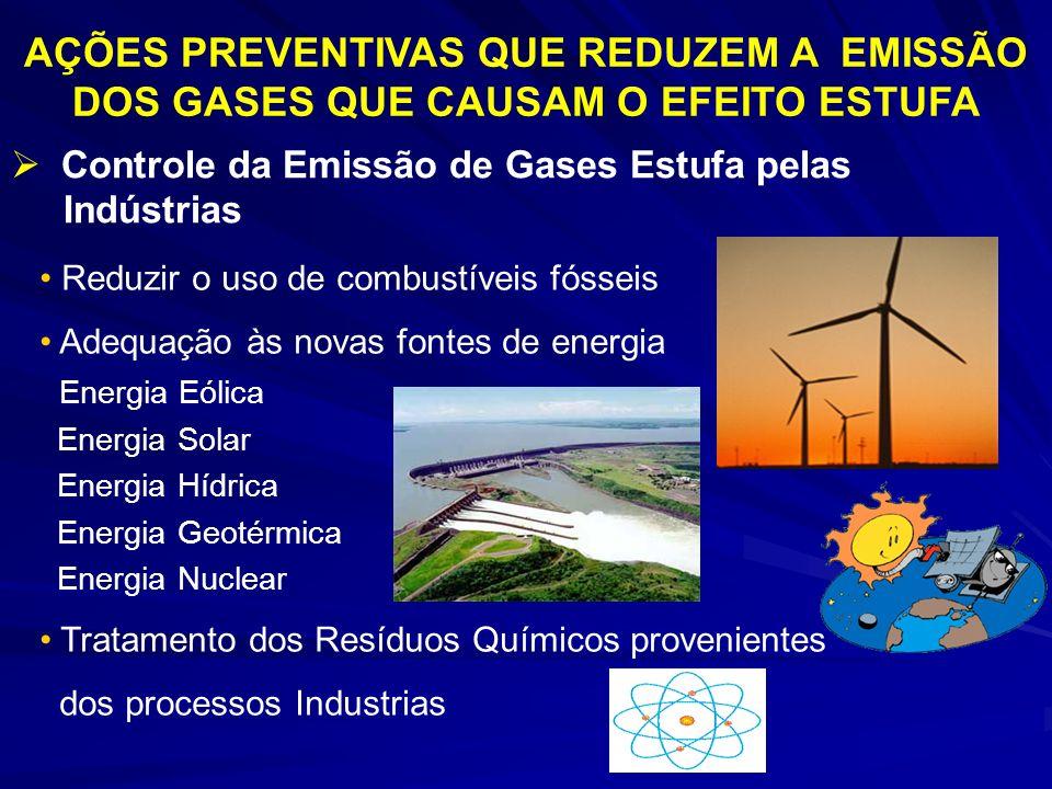 AÇÕES PREVENTIVAS QUE REDUZEM A EMISSÃO DOS GASES QUE CAUSAM O EFEITO ESTUFA Controle da Emissão de Gases Estufa pelas Indústrias Reduzir o uso de com