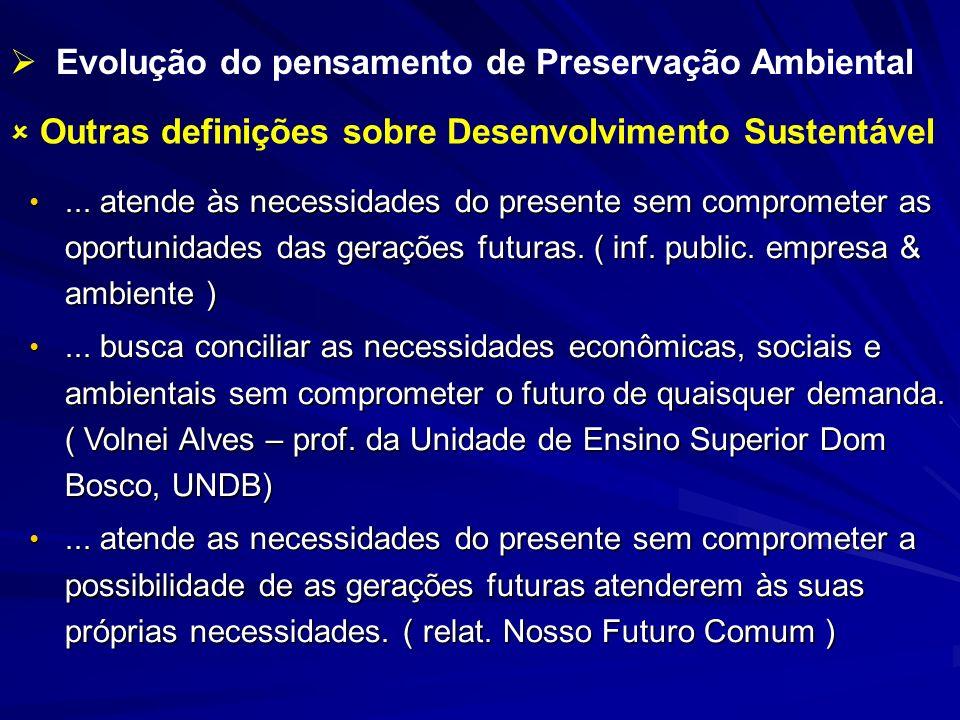 Outras definições sobre Desenvolvimento Sustentável... atende às necessidades do presente sem comprometer as oportunidades das gerações futuras. ( inf