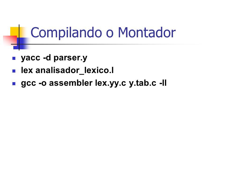 Compilando o Montador yacc -d parser.y lex analisador_lexico.l gcc -o assembler lex.yy.c y.tab.c -ll