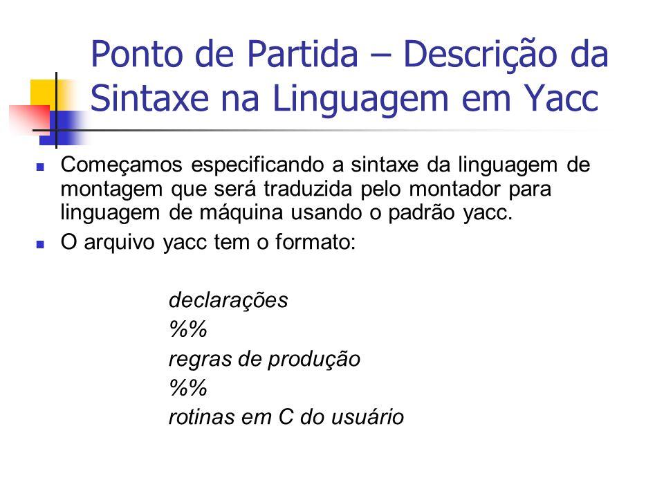 Ponto de Partida – Descrição da Sintaxe na Linguagem em Yacc Começamos especificando a sintaxe da linguagem de montagem que será traduzida pelo montad