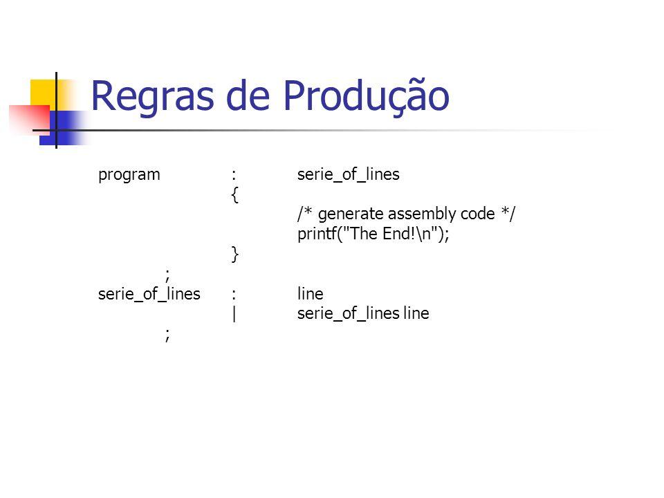 line:nline_or_comment |assembler_cmd nline_or_comment |instruction nline_or_comment |error { yyerrok; exit (1); } ; nline_or_comment:NEW_LINE |COMMENT NEW_LINE ; Regras de Produção