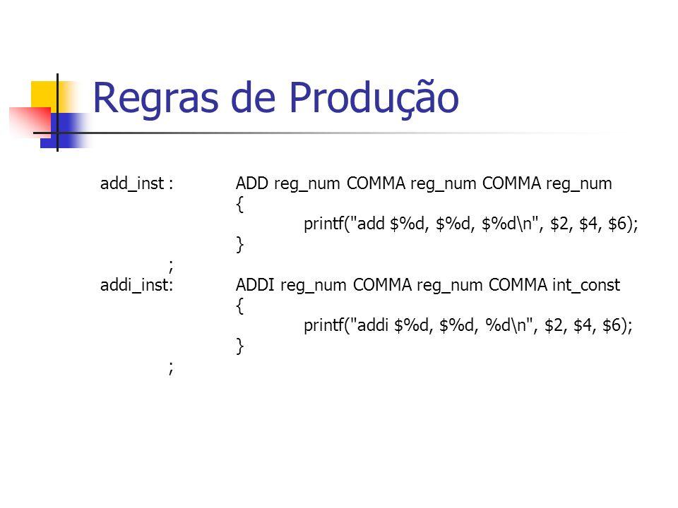 reg_num:DOLLAR NUMBER { $$ = $2; } ; int_const:expression { $$ = $1; } ; Regras de Produção