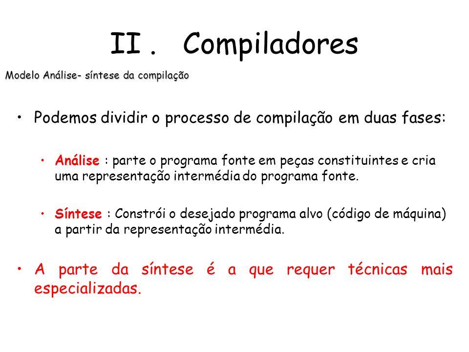 Ilustração do funcionamento de um compilador: II. Compiladores O que é um compilador