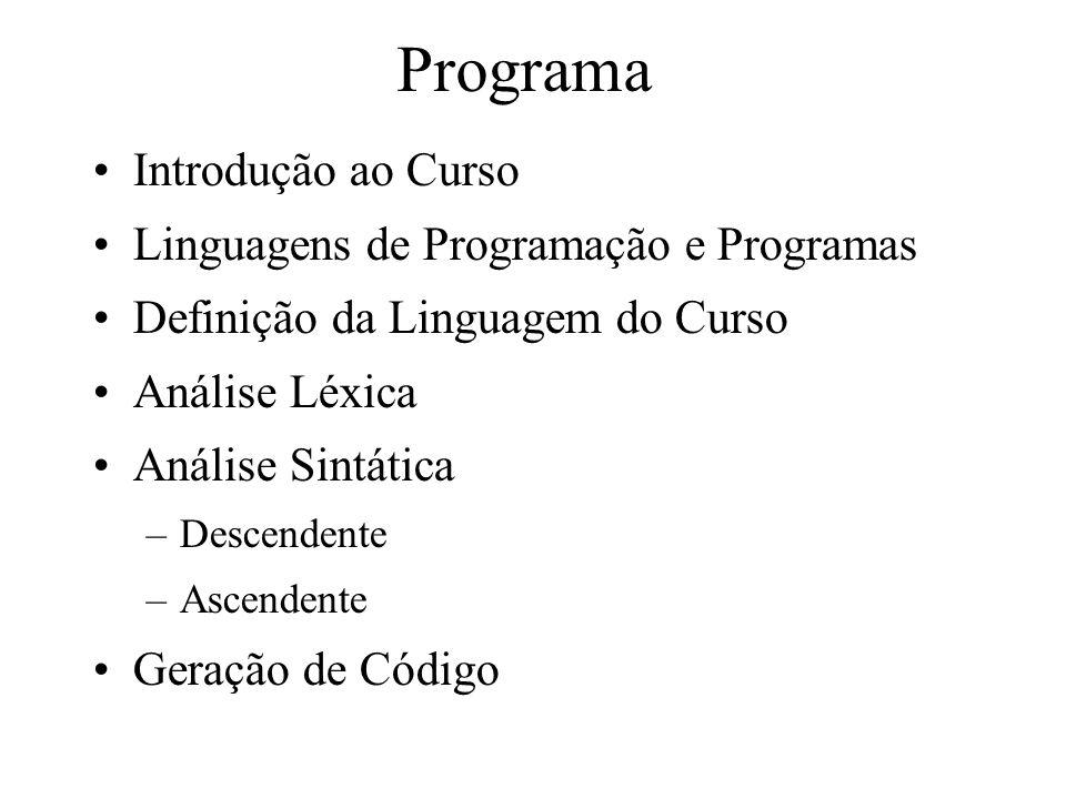 Programa Introdução ao Curso Linguagens de Programação e Programas Definição da Linguagem do Curso Análise Léxica Análise Sintática –Descendente –Ascendente Geração de Código