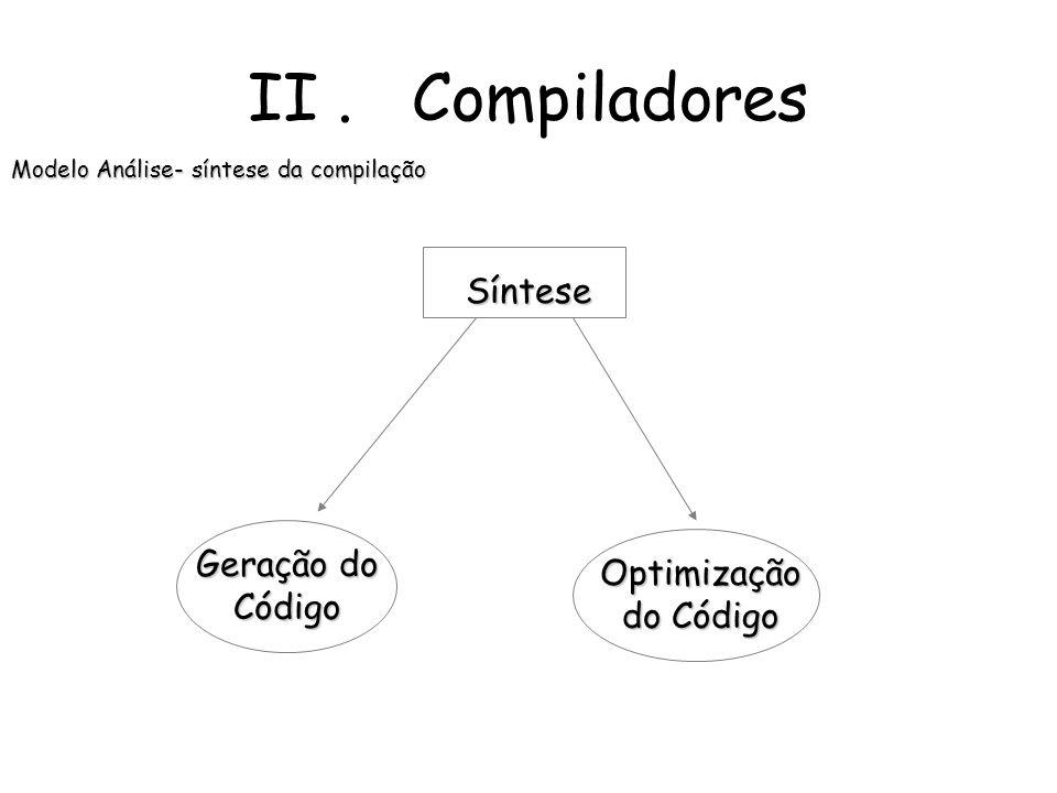 II. Compiladores Modelo Análise- síntese da compilação Análise AnáliseLéxica AnáliseSintáctica AnáliseSemântica