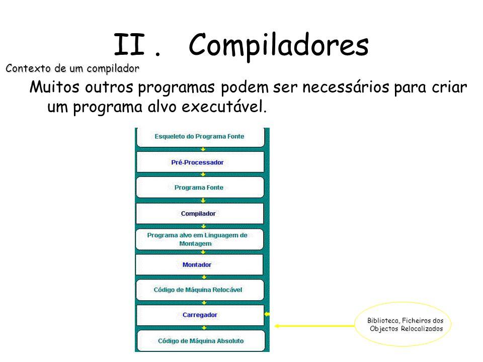 II. Compiladores Modelo Análise- síntese da compilação Síntese Geração do Código Optimização do Código