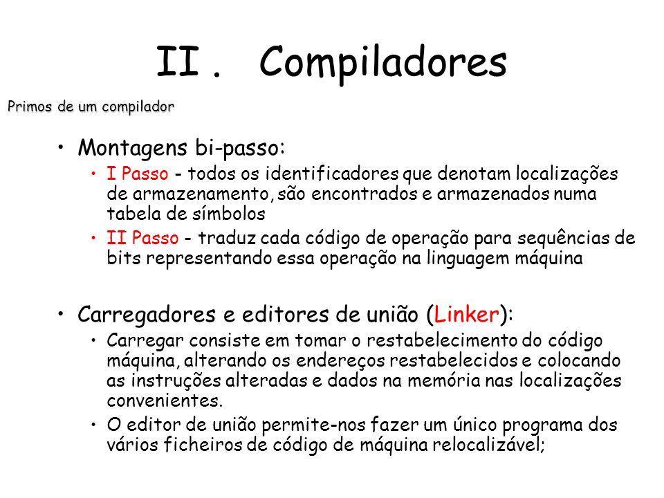 Pré-processadores: produzem o input para os compiladores; Montadores: Alguns compiladores produzem código Assembler que é passado para um montador par
