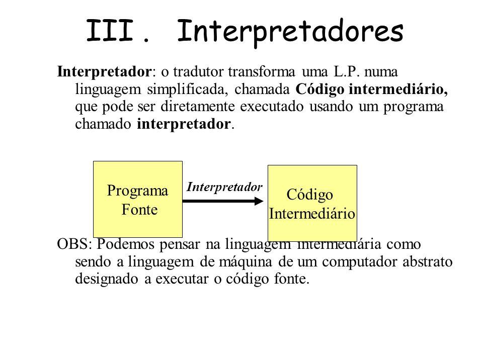 III. Interpretadores Como funcionam os interpretadores O funcionamento dos interpretadores é muito parecido ao dos compiladores. O interpretador tradu