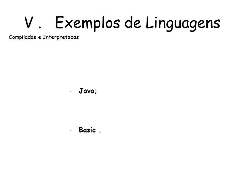 IV. Comparação VantagensDesvantagens Compiladores Execução mais rápidaVárias etapas de tradução Permite estruturas de programação mais completas Progr