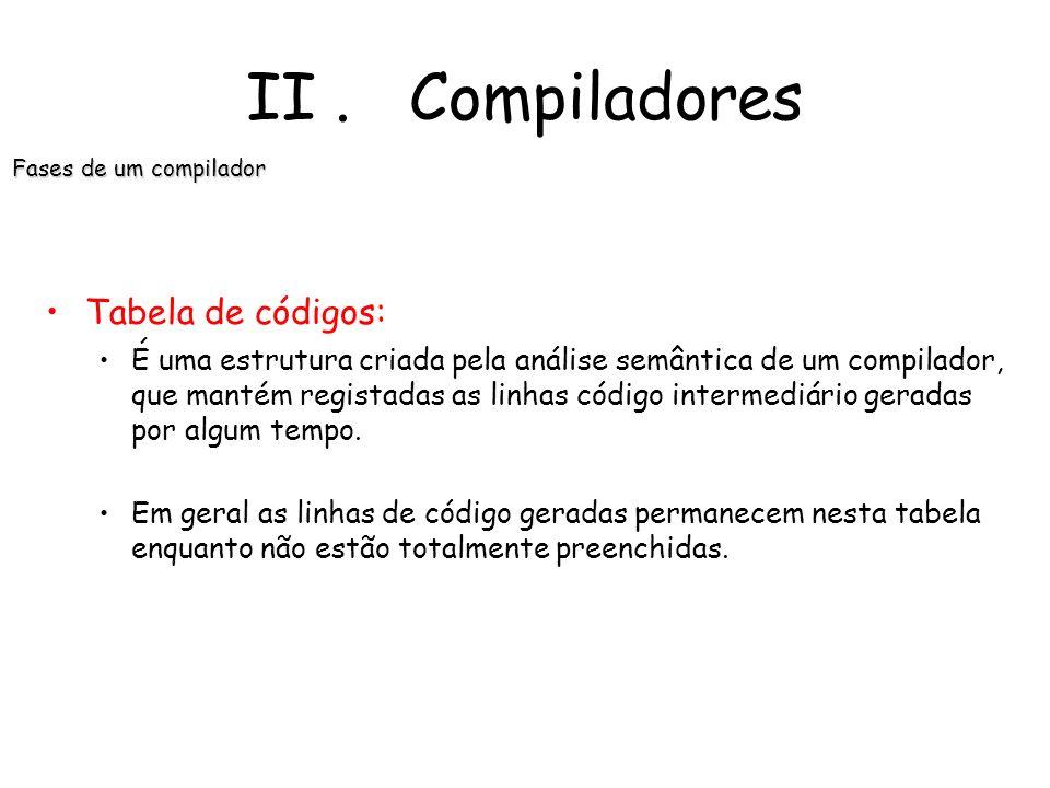 II. Compiladores Fases de um compilador Gerenciador da tabela de símbolos: Uma função essencial de um compilador é registar os identificadores usados