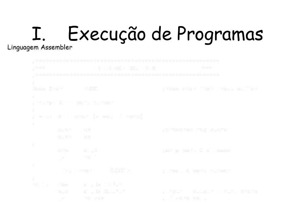 Linguagem Assembler I. Execução de Programas