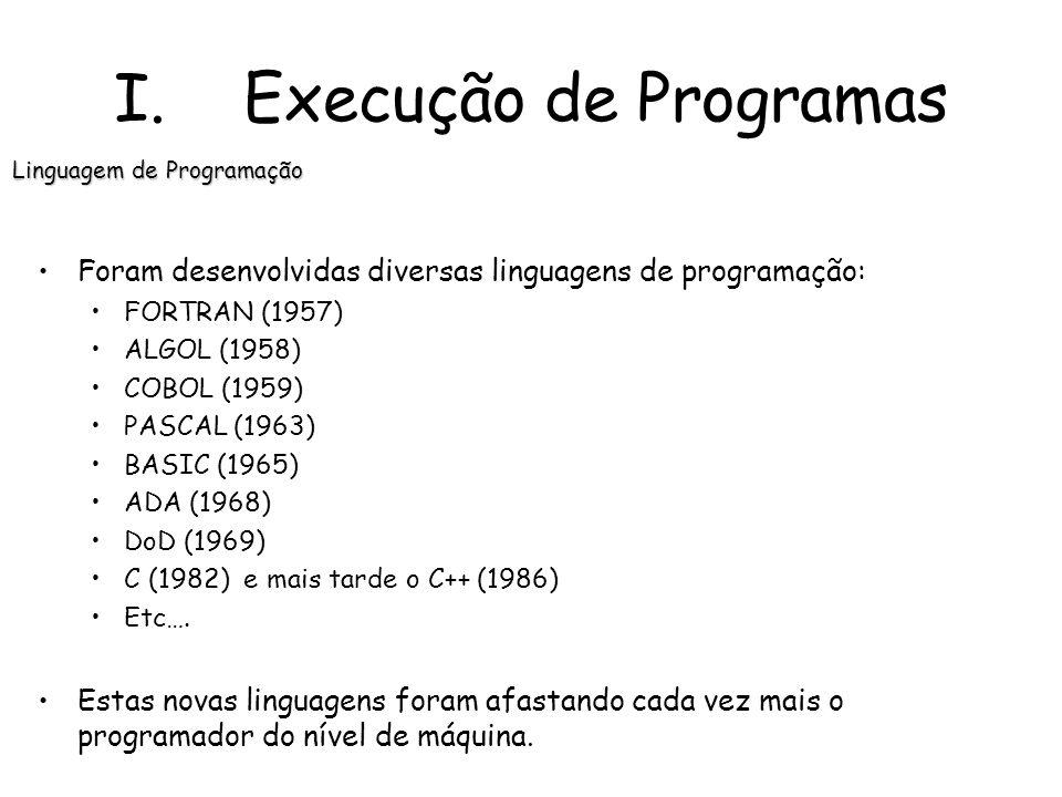 Foram desenvolvidas diversas linguagens de programação: FORTRAN (1957) ALGOL (1958) COBOL (1959) PASCAL (1963) BASIC (1965) ADA (1968) DoD (1969) C (1982) e mais tarde o C++ (1986) Etc….