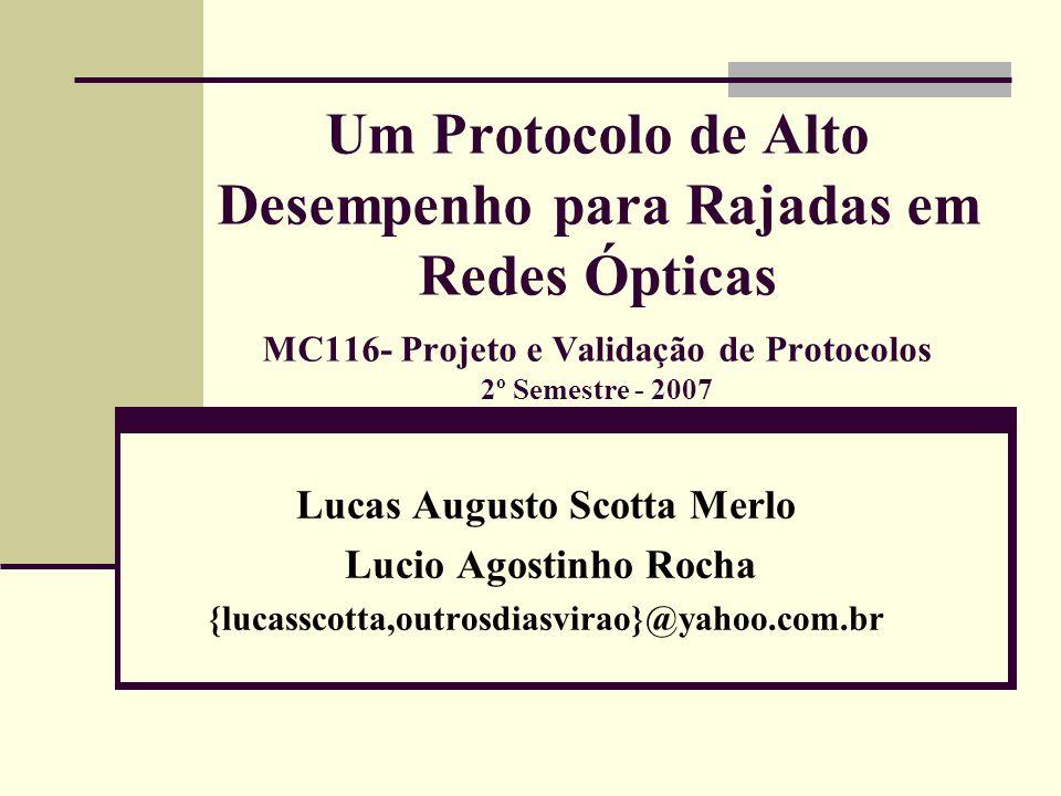 Um Protocolo de Alto Desempenho para Rajadas em Redes Ópticas MC116- Projeto e Validação de Protocolos 2º Semestre - 2007 Lucas Augusto Scotta Merlo L
