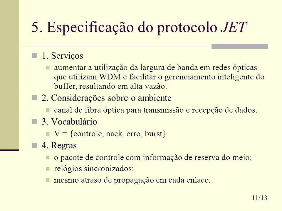 5. Especificação do protocolo JET 1. Serviços aumentar a utilização da largura de banda em redes ópticas que utilizam WDM e facilitar o gerenciamento