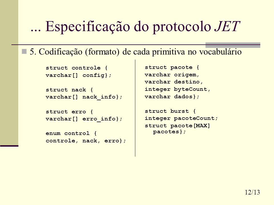 ... Especificação do protocolo JET struct controle { varchar[] config}; struct nack { varchar[] nack_info}; struct erro { varchar[] erro_info}; enum c