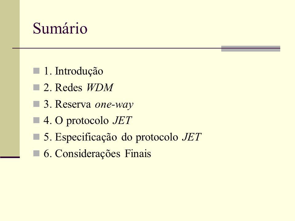 Sumário 1. Introdução 2. Redes WDM 3. Reserva one-way 4. O protocolo JET 5. Especificação do protocolo JET 6. Considerações Finais