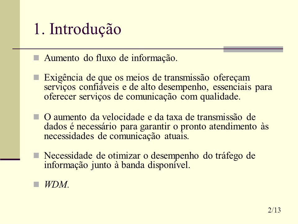 1. Introdução Aumento do fluxo de informação. Exigência de que os meios de transmissão ofereçam serviços confiáveis e de alto desempenho, essenciais p