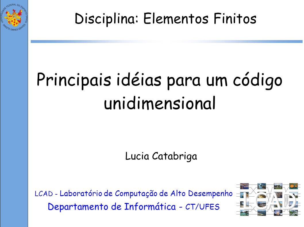 LCAD - Laboratório de Computação de Alto Desempenho Departamento de Informática - CT/UFES LCAD Principais idéias para um código unidimensional Lucia C