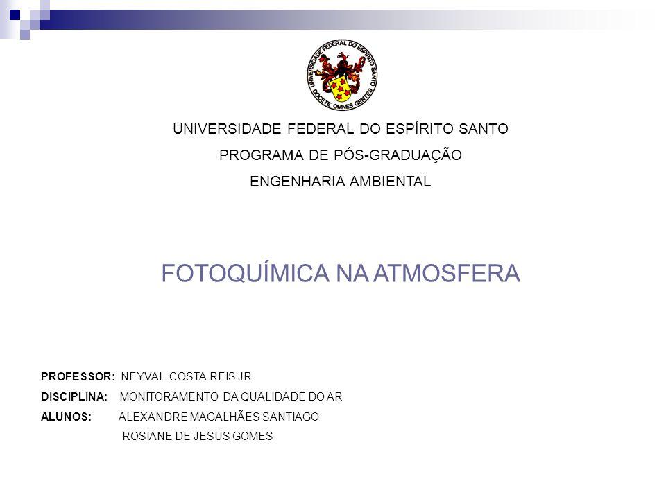 UNIVERSIDADE FEDERAL DO ESPÍRITO SANTO PROGRAMA DE PÓS-GRADUAÇÃO ENGENHARIA AMBIENTAL FOTOQUÍMICA NA ATMOSFERA PROFESSOR: NEYVAL COSTA REIS JR. DISCIP