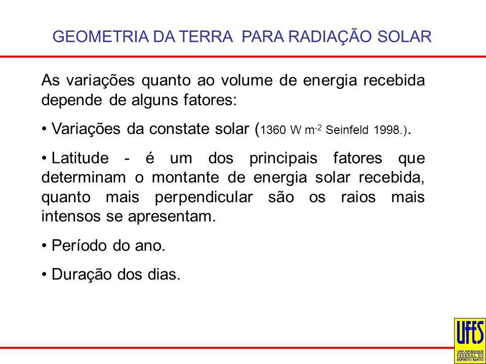 GEOMETRIA DA TERRA PARA RADIAÇÃO SOLAR As variações quanto ao volume de energia recebida depende de alguns fatores: Variações da constate solar ( 1360