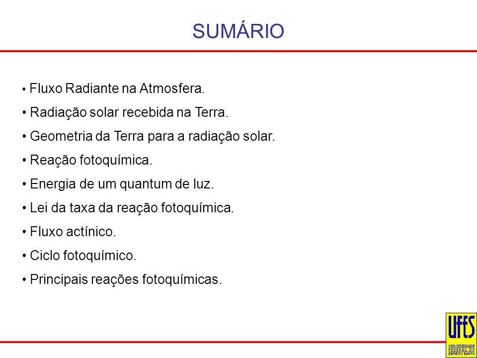 SUMÁRIO Fluxo Radiante na Atmosfera. Radiação solar recebida na Terra. Geometria da Terra para a radiação solar. Reação fotoquímica. Energia de um qua