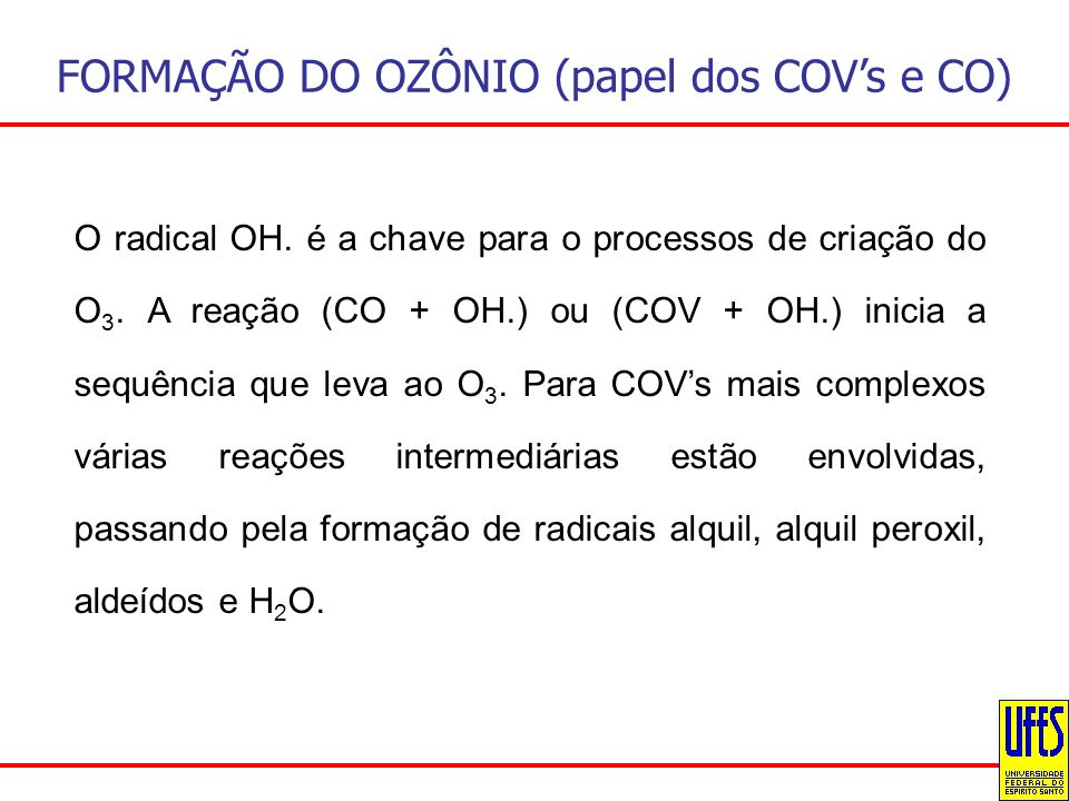 FORMAÇÃO DO OZÔNIO (papel dos COVs e CO) O radical OH. é a chave para o processos de criação do O 3. A reação (CO + OH.) ou (COV + OH.) inicia a sequê