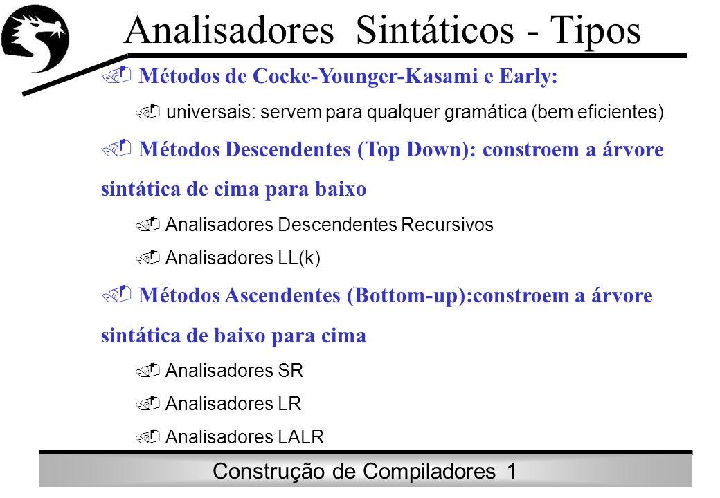 Construção de Compiladores 1 Analisadores Sintáticos - Tipos. Métodos de Cocke-Younger-Kasami e Early:. universais: servem para qualquer gramática (be