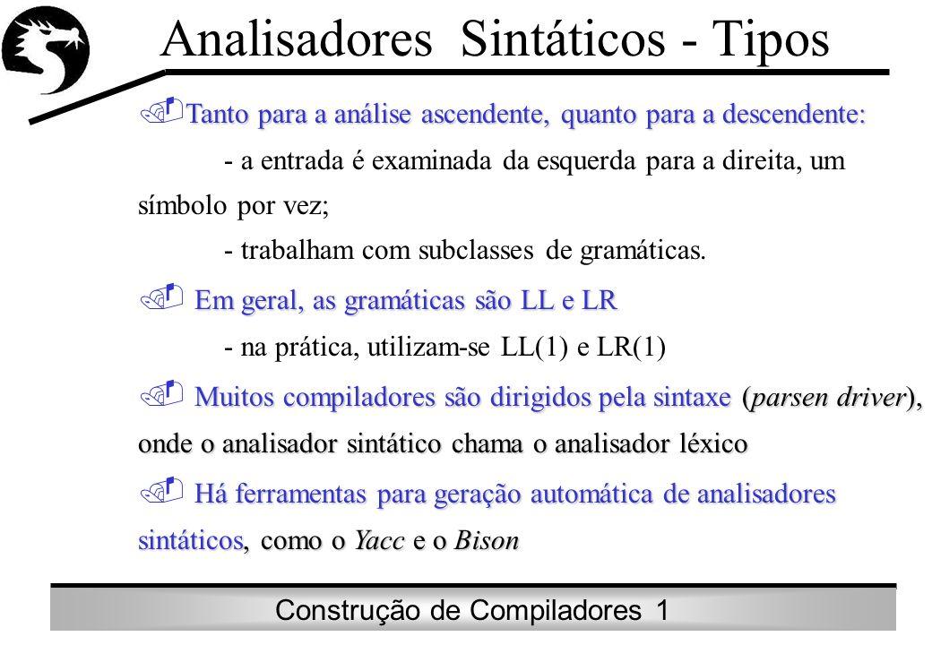 Construção de Compiladores 1 Analisadores Sintáticos - Tipos Tanto para a análise ascendente, quanto para a descendente: - a entrada é examinada da es