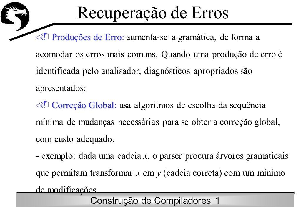 Construção de Compiladores 1 Recuperação de Erros Produções de Erro Produções de Erro: aumenta-se a gramática, de forma a acomodar os erros mais comun