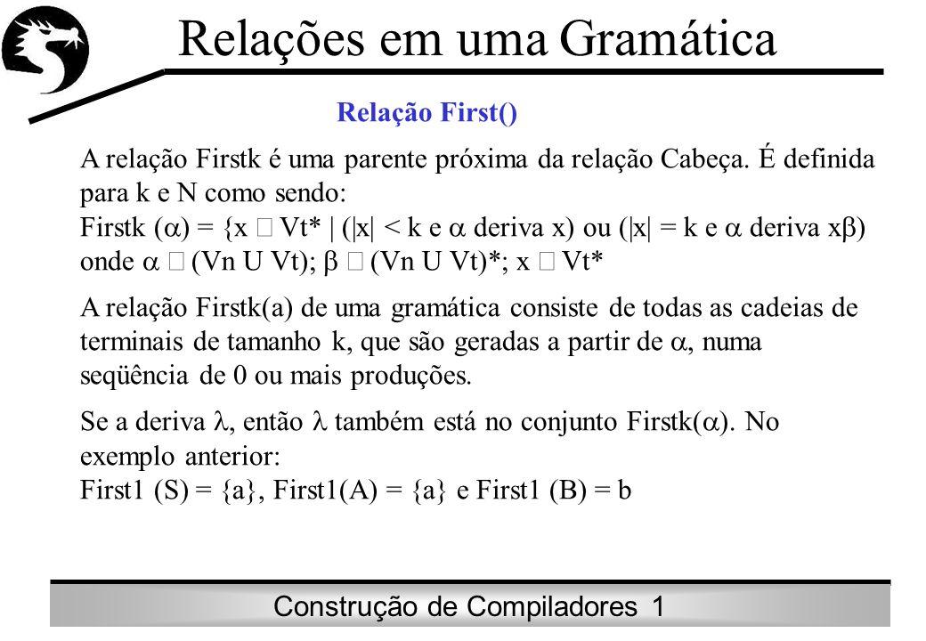 Construção de Compiladores 1 Relações em uma Gramática Relação First() A relação Firstk é uma parente próxima da relação Cabeça. É definida para k e N