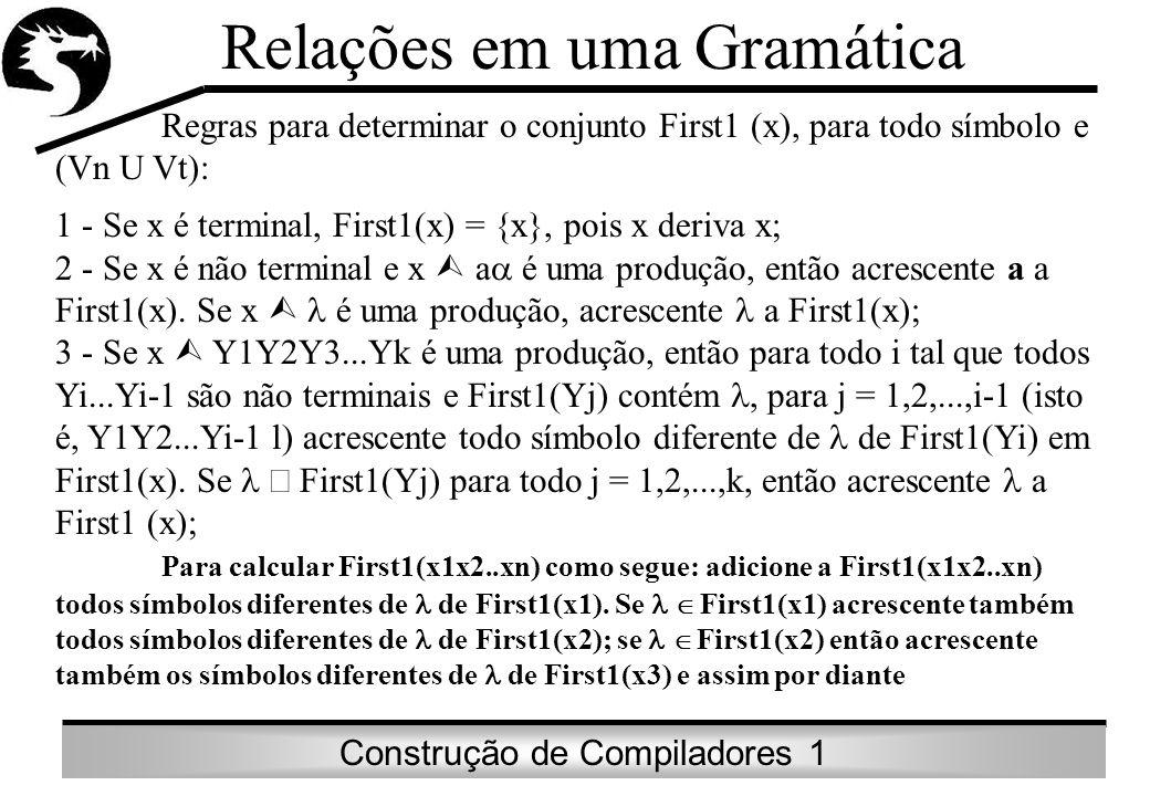 Construção de Compiladores 1 Exemplo: G: E TE E +TE | T FT T *FT | T (E) | id onde Vn = {E,T,F,E ,T } Vt = {(,),id,+,*} S = E Temos: First (E) = First (TE ) = First (FT E ) = {(,id} First (E ) = {+, } First (T ) = {*, } Relações em uma Gramática