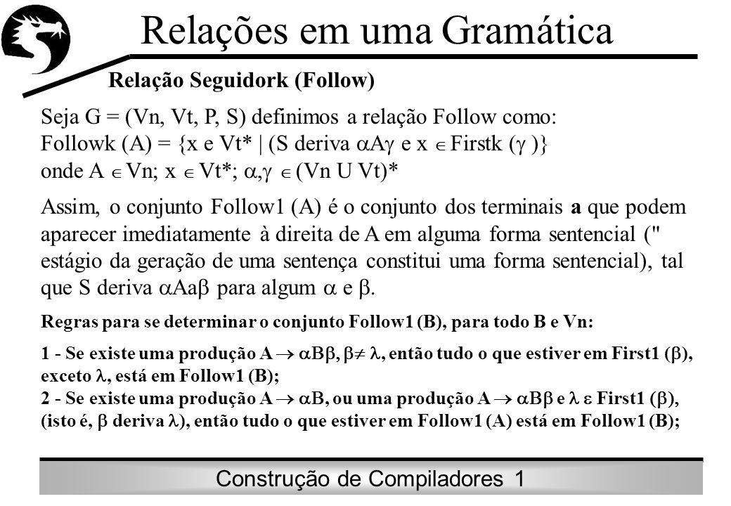 Construção de Compiladores 1 Relações em uma Gramática Exemplo: Considere a gramática do exemplo do First: Então: Follow1 (E) = { ) } Follow1 (T ) = First1 (E ) = {+} U Follow1 (E ) = {+} U Follow1 (E) = {+,)} Follow1 (F) = First1 (T ) = {*} U Follow1 (T ) = {*} U Follow1 (T) = {*,+,)} Follow1 (E ) = Follow1 (E) = { ) } Follow1 (T ) = Follow1 (T) = {+, ) }