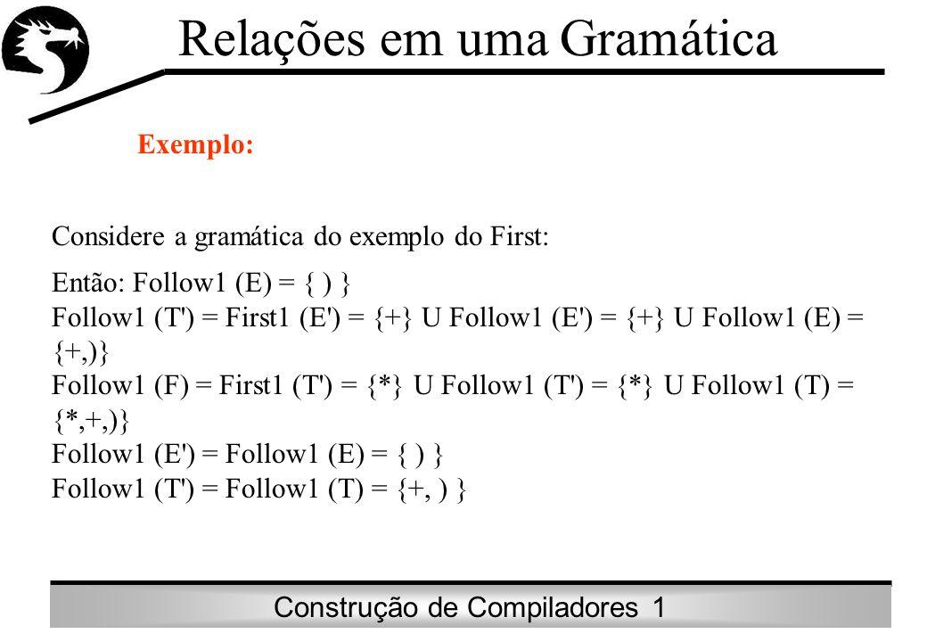 Construção de Compiladores 1 Relações em uma Gramática Exemplo: Considere a gramática do exemplo do First: Então: Follow1 (E) = { ) } Follow1 (T') = F