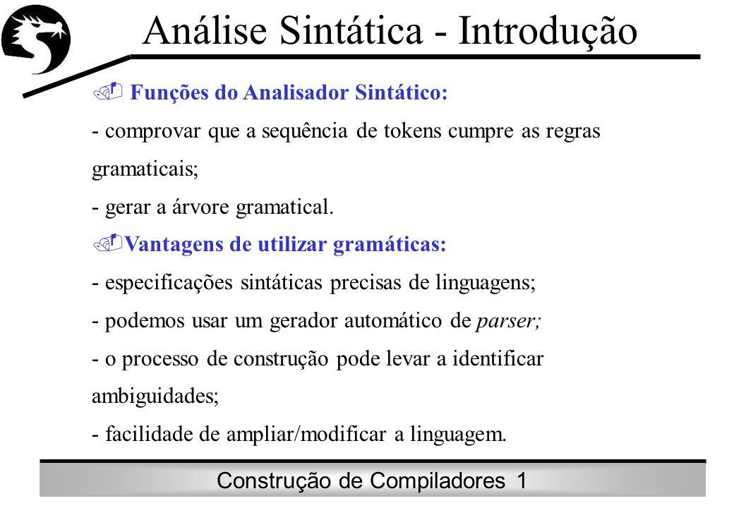 Construção de Compiladores 1 Papel dos Analisadores Sintáticos Identificar erros de Sintaxe: A * / B; Tornar clara a estrutura hierárquica da evolução da sentença: A / B * C (A/B) * C em Fortran A / (B*C) em APL Recuperação de erros de sintaxe; Não retardar, de forma significativa, o processamento de programas corretos.