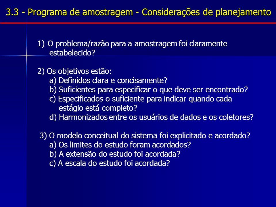 3.3 - Programa de amostragem - Considerações de planejamento 1)O problema/razão para a amostragem foi claramente estabelecido.