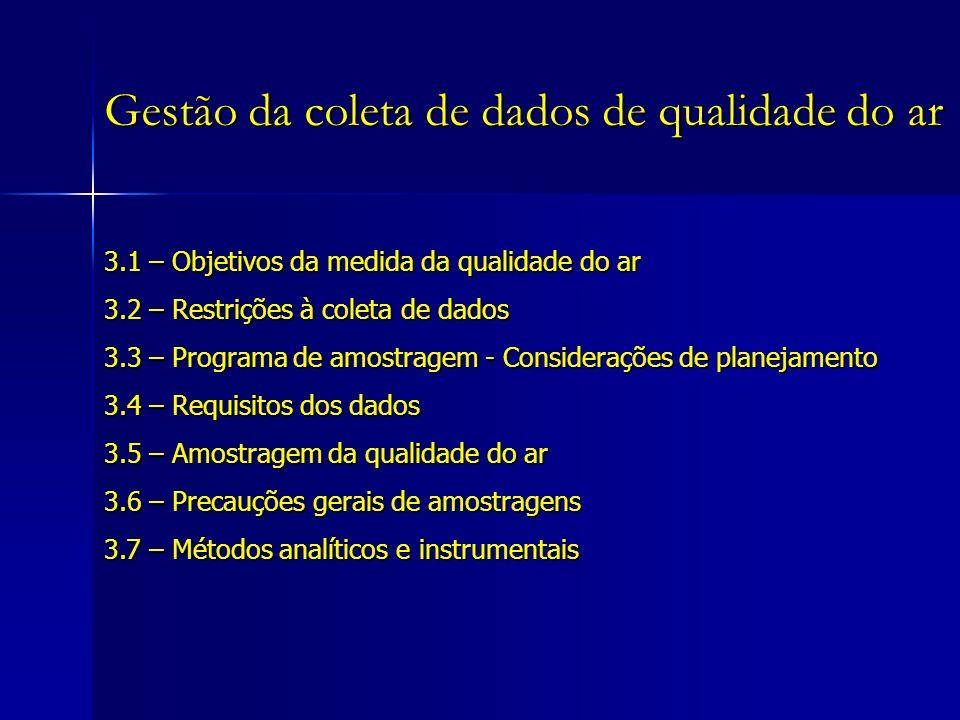 3.1 – Objetivos da medida da qualidade do ar 3.2 – Restrições à coleta de dados 3.3 – Programa de amostragem - Considerações de planejamento 3.4 – Requisitos dos dados 3.5 – Amostragem da qualidade do ar 3.6 – Precauções gerais de amostragens 3.7 – Métodos analíticos e instrumentais