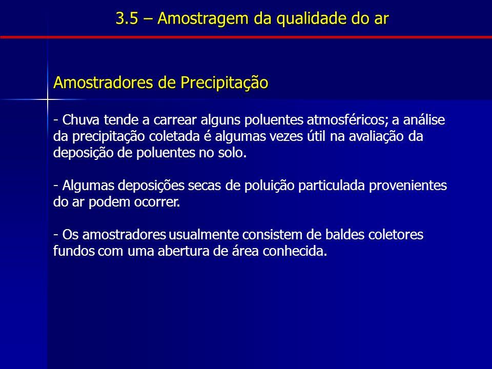 Amostradores de Precipitação - Chuva tende a carrear alguns poluentes atmosféricos; a análise da precipitação coletada é algumas vezes útil na avaliação da deposição de poluentes no solo.