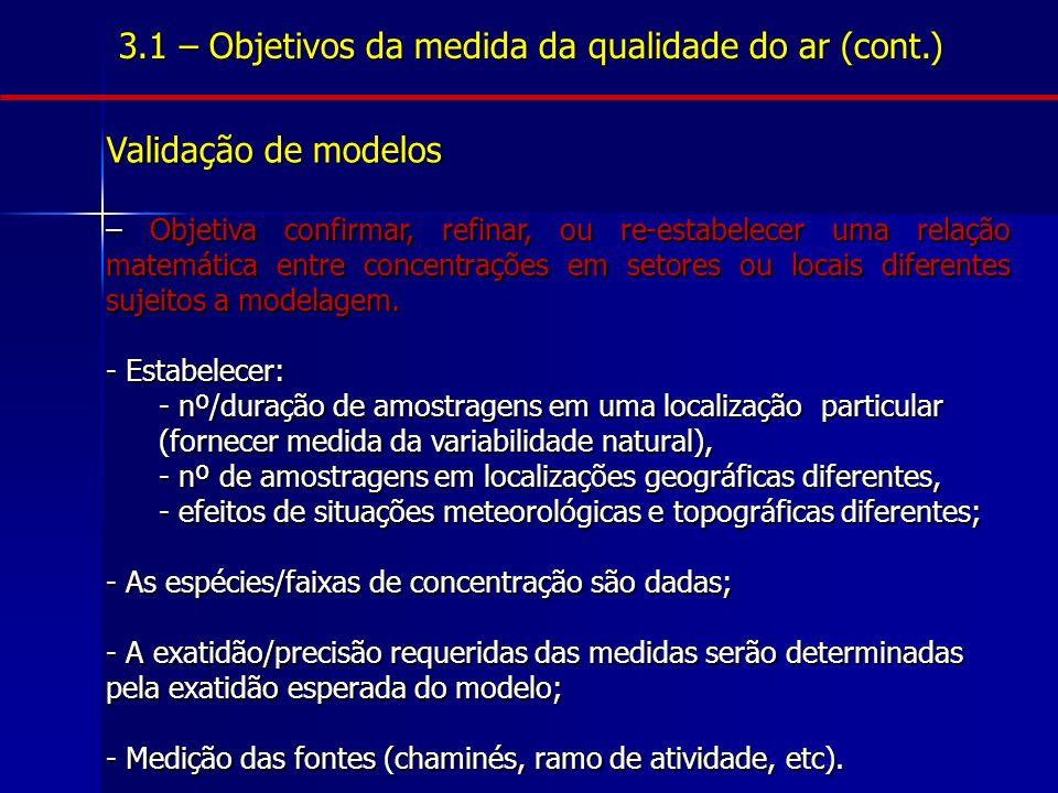 3.1 – Objetivos da medida da qualidade do ar (cont.) Validação de modelos – Objetiva confirmar, refinar, ou re-estabelecer uma relação matemática entre concentrações em setores ou locais diferentes sujeitos a modelagem.
