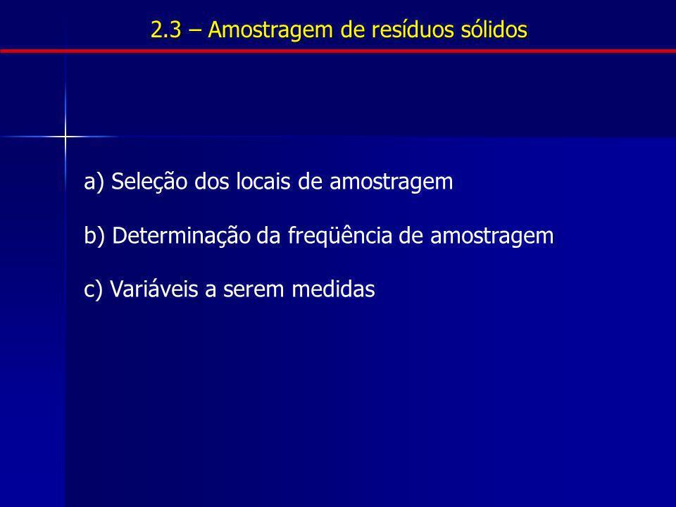 a) Seleção dos locais de amostragem b) Determinação da freqüência de amostragem c) Variáveis a serem medidas 2.3 – Amostragem de resíduos sólidos
