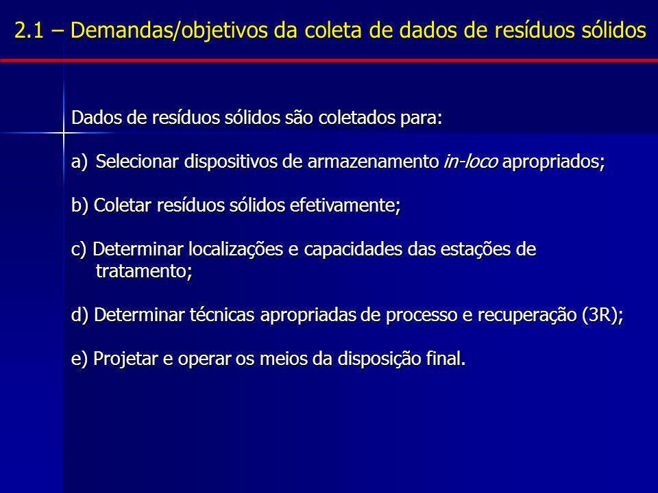 Dados de resíduos sólidos são coletados para: a)Selecionar dispositivos de armazenamento in-loco apropriados; b) Coletar resíduos sólidos efetivamente
