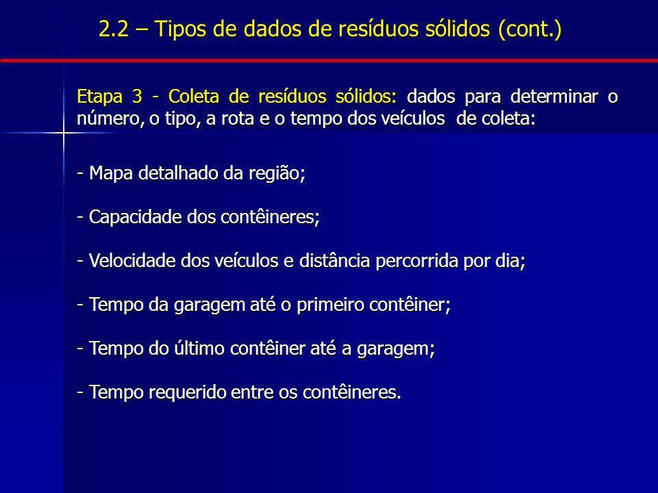 2.2 – Tipos de dados de resíduos sólidos (cont.) Etapa 3 - Coleta de resíduos sólidos: dados para determinar o número, o tipo, a rota e o tempo dos ve
