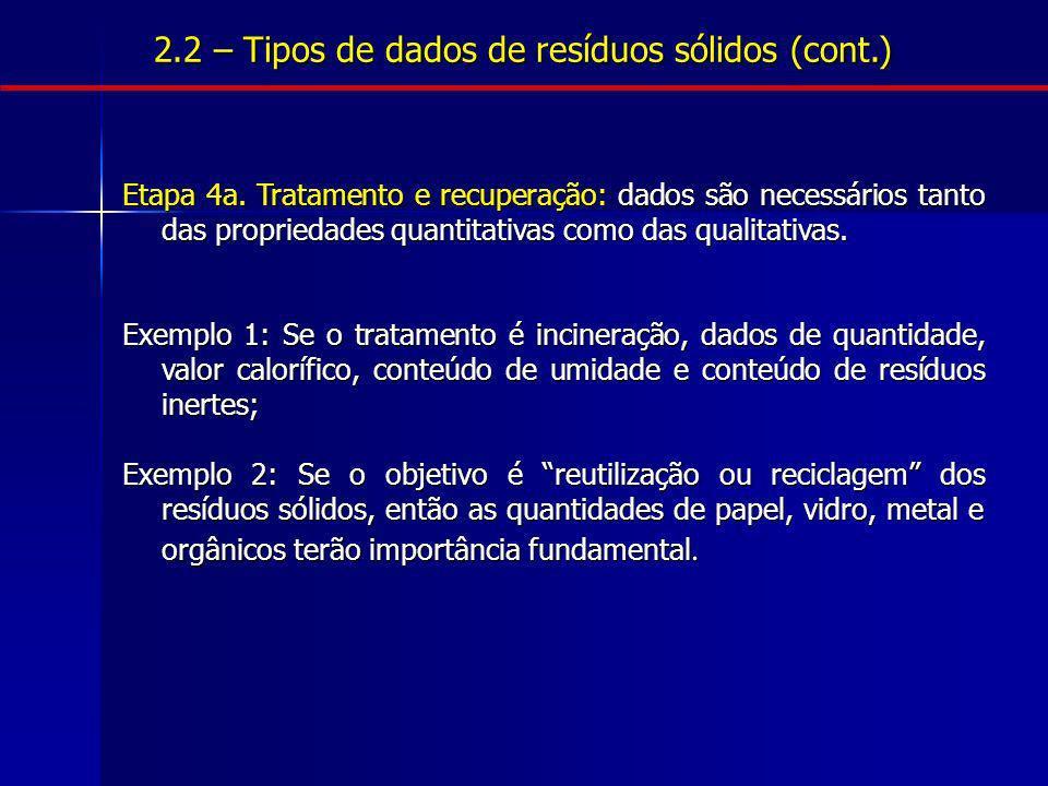 2.2 – Tipos de dados de resíduos sólidos (cont.) Etapa 4a. Tratamento e recuperação: dados são necessários tanto das propriedades quantitativas como d