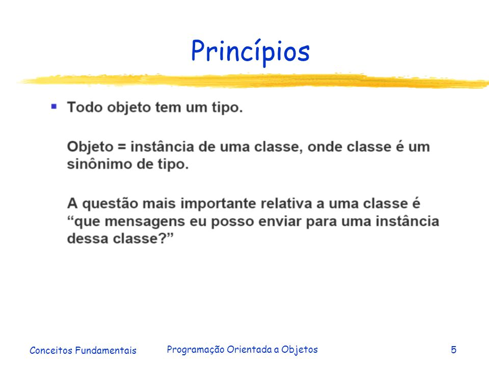 Conceitos Fundamentais Programação Orientada a Objetos5 Princípios